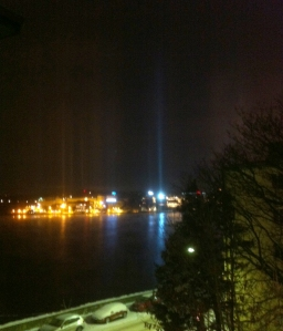 Light Pillars over Lake Mälaren, Dec. 2nd 2012.